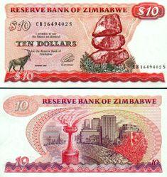 Zimbabwe  10 Dollars 1994 (Sable antelope) Bank Account Balance, Money Template, Passport Card, Money Worksheets, Money Notes, Thinking Day, African Animals, Zimbabwe, Paper