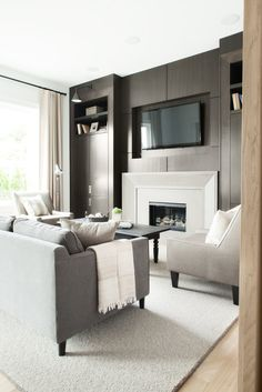 Architecture, Ripple Road By Kelly Deck Design Interior Living Room Design Ideas Cream Curtains Floor Lamp Wall Lamp Cushion Comfy Sofa Glass Window Wooden Flooring Fur Rug Small Black Table Living Room Furniture Ideas: Amazing Contemporary Farmhouse Design Ideas