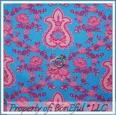 BonEful FABRIC FQ Cotton Quilt VTG Jennifer Paganelli Aqua Blue Pink Flower Rose