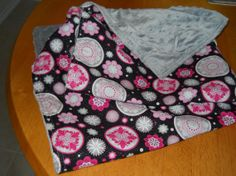 Silky baby blanket hot pink floral with gray by HomemakersHelper, $14.99