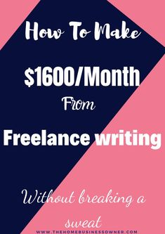 Want to know how I made 1600 dollars from freelance writing alone? read this post. Earn Money From Home, Way To Make Money, Make Money Online, How To Make, Quick Money, Money Fast, Home Based Business, Business Ideas, Writing Advice