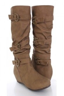 Taupe Faux Leather Mid Calf Buckled Strappy Boots