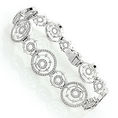 This luxurious Gold Womens Multi Circle Diamond Bracelet weighs approximately 24 grams and showcases ctw of sparkling round diamonds, each expertly set in a lustrous gold frame. Featuring an elegant multi circle design, this breathtaking designer 18k Gold Bracelet, Diamond Bracelets, Bangle Bracelets, Bracelet Watch, Bangles, Jewelry Box, Fine Jewelry, Jewellery, Round Diamonds