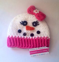 Girls Snowman Crochet Hat  Pink & White by WillowHillKidsToo