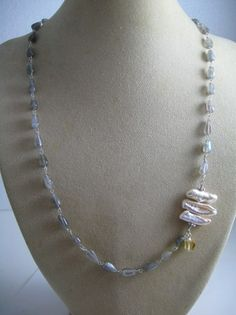 Labradorite, Biwa Pearl, Citrine Bohemian Necklace!! | GoGemCreations - Jewelry on ArtFire