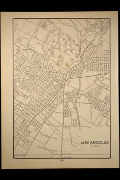 Antique Map Los Angeles Street Early 1900s California 1901