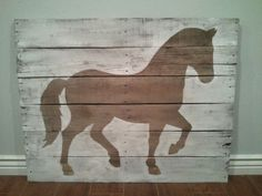 Sweet Pony pallet sign! Would be cute for a kid's party backdrop or for a little girl's room! Pony Silhouette pallet wood sign by TheCreativePallet on Etsy, $90.00