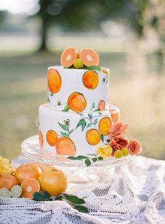 Oob A La Mode orange hand painted wedding cake Creative Wedding Cakes, Cool Wedding Cakes, Beautiful Wedding Cakes, Wedding Cake Toppers, Beautiful Cakes, Martha Stewart Weddings, Individual Wedding Cakes, Fruits Decoration, Floral Decorations