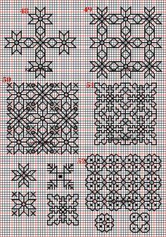Borduren en borduurwerk:zwart borduren:vlakvullingen 48-55