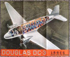 Original Travel Poster / Aircraft Cutaway LARES Rumania Douglas DC-3 Vintage Art