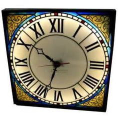 Illuminated Stained Glass Wall Clock by O.B. McClintock
