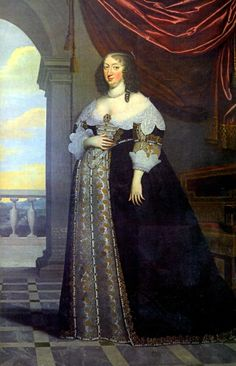 Charles Beaubrun painted this portrait of Anne of Austria in 1638 when she was 8 months pregnant with the future Louis XIV. I think Anne's dress is an extremely interesting approach to maternity fashion. Rather than simply altering the waistline, they expanded (and presumably added some creative padding to) the entire dress, allowing the dress to keep the fashionable lines of the time.