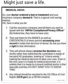 Recourse for medical denials Simple Life Hacks, Useful Life Hacks, 1000 Life Hacks, Hack My Life, Life Skills, Life Lessons, Everyday Hacks, Medical Information, Thats The Way