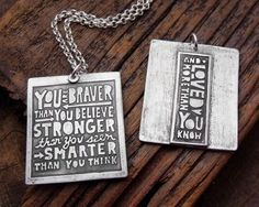 You are braver than you believe necklace by lulubugjewelry on Etsy