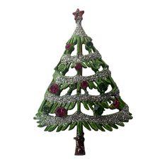 Mid-Century 1950's Rhinestone Enameled Christmas Tree Pin, Book Piece by VintageUndertheSea on Etsy