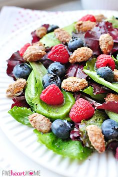 Spring Salad with Mixed Berries, Candied Almonds, and Honey Citrus Vinaigrette