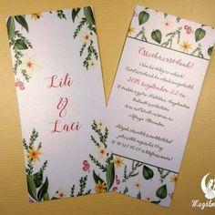 Tavaszi nyomtatott esküvői meghívó 3. #esküvői #meghívó #nyomtatott #esküvőimeghívó #tavasz #egyedi #wedding #weddinginvitation #spring #springinvitation #unique #flowers #flowerinvitation Spring Wedding Invitations, Winter Springs, Fall Winter