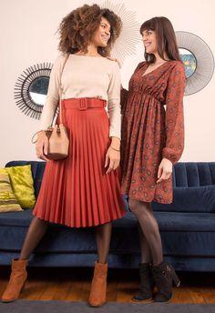 Jupe midi plissée et robe voile cachemire Midi Skirt, Skirts, Vintage, Style, Fashion, Fashion Now, Winter Collection, Cashmere Wool, Moda