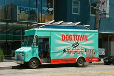 Dogtown Dogs, gourmet food truck, Abbot Kinney, Venice, California / Another cute name. Abbot Kinney, Food Truck Design, Cute Names, Food Trucks, Urban Photography, Venice California, Gourmet Recipes, Dogs, Retail Design