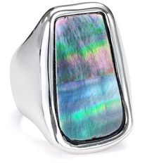 Robert Lee Morris Soho Iridescent Cocktail Ring ($40) ❤ liked on Polyvore featuring jewelry, rings, silver statement ring, silver jewelry, silver rings, iridescent jewelry and silver jewellery