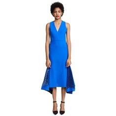 Dion Lee Bias Perf Dress (2 090 AUD) ❤ liked on Polyvore featuring dresses, default blue, cut out bodycon dress, midi dress, body con dress, sleeveless bodycon dress and blue midi dress