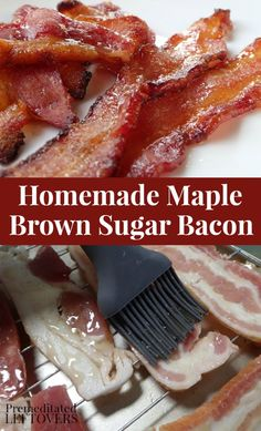 Use this homemade maple brown sugar bacon recipe to make a sweet and savory candied bacon. You coat the bacon with a glaze of maple syrup and brown sugar. Quick and Easy Oven Baked Candied Bacon Recipe! Oven Baked Bacon, Bacon In The Oven, Bacon Bacon, Cooking Bacon, Cooking Recipes, Cooking Cake, Cooking Videos, Cooking Tips, Maple Syrup Recipes