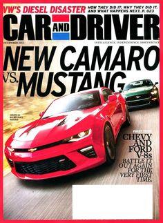 CAR AND DRIVER Magazine December 2015 - New Camaro vs Mustang
