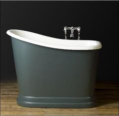 A striking, style-neutral bathtub fit for small spaces. A striking, style-neutral bathtub fit for small spaces. Tiny House Bathroom, Master Bathroom, Small Bathrooms, Basement Bathroom, Washroom, Space Saving Baths, Stand Alone Tub, Shed To Tiny House, Modern Bathtub