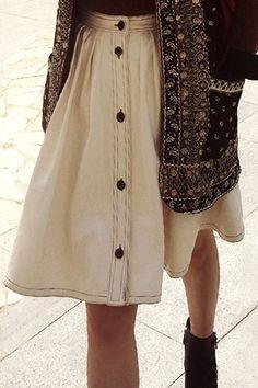 High-Waisted Ruffled Denim Midi Skirt
