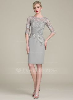 Sheath/Column Scoop Neck Knee-Length Ruffle Beading Zipper Up Sleeves 1/2 Sleeves Yes Silver General Plus Chiffon Lace Height:5.7ft Bust:33in Waist:24in Hips:34in US 2 / UK 6 / EU 32 Mother of the Bride Dress