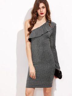 Silver Ruffle One Shoulder Sparkle Sheath Dress