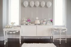 pure white DIY party with a hint of pink (purple in my case): ballons, doiles, and hearts - I love this idea! I've secretly always wanted a white shower, with doilies and lace and balloons and hearts and all things wedding-y @Jessica Bryant