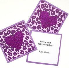 Purple Cheetah Kids Valentine Cards  Set of 24  by AcarrdianCards