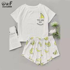 Shop Banana Print Pocket Front Top With Shorts Pajama Set online. SheIn offers Banana Print Pocket Front Top With Shorts Pajama Set Cute Pajama Sets, Cute Pjs, Pajama Outfits, Pajama Shorts, Women's Shorts, Sport Shorts, Running Shorts, Casual Shorts, Print Shorts