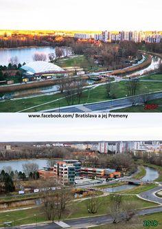 Pohľad na Draždiak, Chorvátske rameno a Medisimo Porovnanie 2007 a 2018 🌳🌳🌳 Bratislava