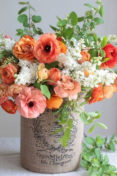 Floral Arrangement ~ Flowers and DIY Vase ~ Grab a coffee can, stamp a design onto burlap, wrap the can and voila! Deco Floral, Arte Floral, Floral Design, Ikebana, Floral Arrangements, Flower Arrangement, Beautiful Flowers, Beautiful Bouquets, Wedding Flowers