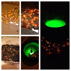 DIY smoking witch cauldron with burning coals. Such a great effect for halloween and not very expensive!