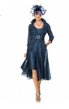 @joyceyoungcollections Navy organza jacquard flowing coat with silk dress #regal #style #dress #coat #occasion #motherofthebride #bridal