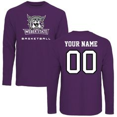 Weber State Wildcats Personalized Basketball Long Sleeve T-Shirt - Purple