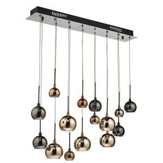 Stunning 15 light Black chrome bar pendant with high shine electro plated glass shades in copper, dark copper and bronze.Suitable for dining room, lounge, hall, stairway and other areas with higher ceilings.Height is adjustable at installation Kitchen Lighting Over Table, Hallway Lighting, Kitchen Island Lighting, Dar Lighting, Dining Room Lighting, Dining Rooms, Lights Over Dining Table, Lighting Ideas, Hallway Ceiling Lights