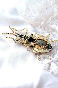 Super cute Gardener gift beetle brooch unique by PurePearlBoutique