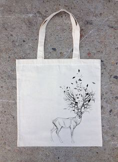 Hand Drawn Elk with Tree Antlers and Triangles - Natural Cotton Canvas Tote Bag