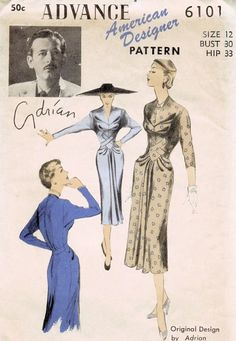 Advance 6101, design by Adrian; Sz 14/bust 32  I'd love to have this pattern. Love!