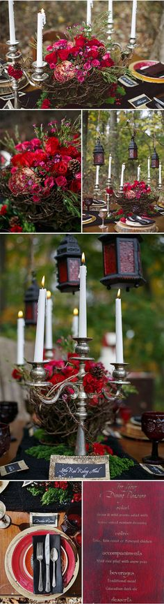 Fall Table Decor | Little Red Riding Hood Wedding Inspiration via @styleunveiled