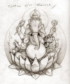 I would love to do a Ganesh, grayscale (except maybe the lotus...), on my arm!