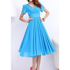 $19.45 Elegant Style V-Neck Ruffle Solid Color Short Sleeve Chiffon Dress For Women