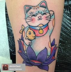 Adorable Lucky Cat tattoo based on a design by Rik Lee.  Find the artist of this piece by searching the name in the grey box on Instagram!