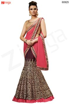 Women's Velvet Fabric & Brown Color Pretty Fish cut Lehenga Style Message/call/WhatsApp at +91-9246261661