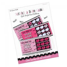 The Hens Night Scratch a Dare Game Pack with 12 scratch cards is a Hen Party essential. Pop in gift bags, put in your pocket, this scratch a dare game will provide lots of fun for the lucky hen and her guests. Dare Games, Fun Games, Hens Night Games, Bachelorette Party Games, Girls Night Out, Dares, Packing, Gifts, Cool Games