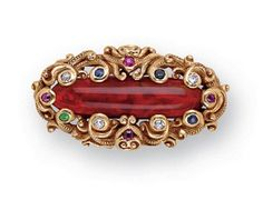 An Art Nouveau Jewelled and 18k Gold Brooch , Theodore B. Starr, New York,, circa 1895 « Dupuis Fine Jewellery Auctioneers